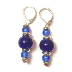 Boucles d'oreilles bleu cobalt