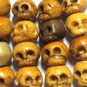Mala Bouddhiste, bracelet,collier, crane-en-os-bone-skull
