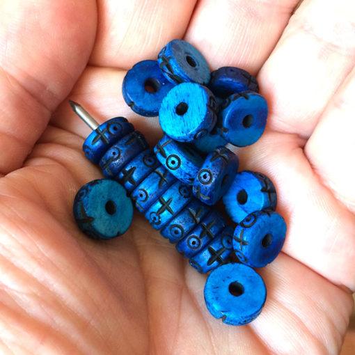 050 carved bone blue indigo