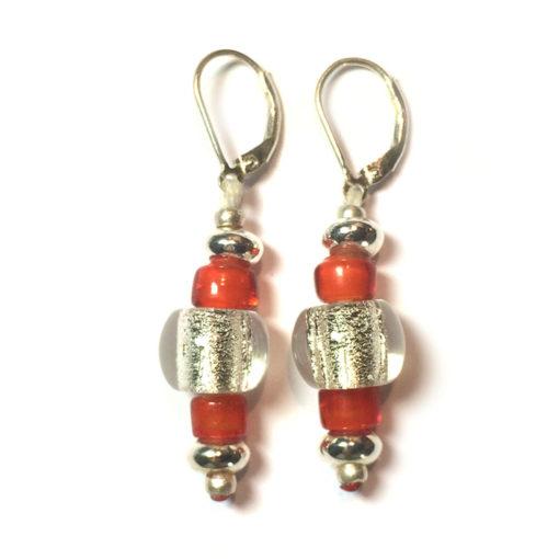 Boucles d'oreilles orange, fixation en argent 925
