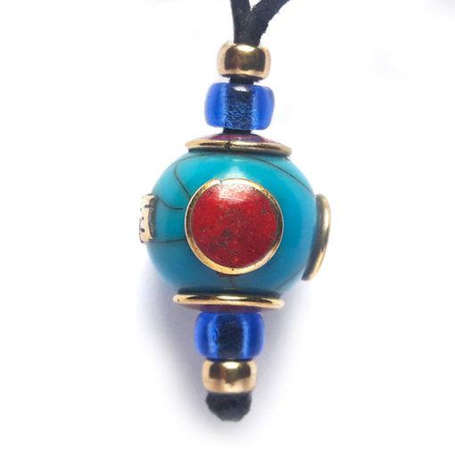 pendentif nepal mantra bleu
