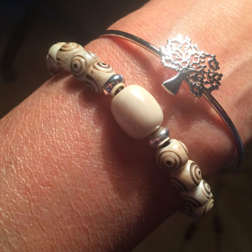 Bracelet crotale en os blanc