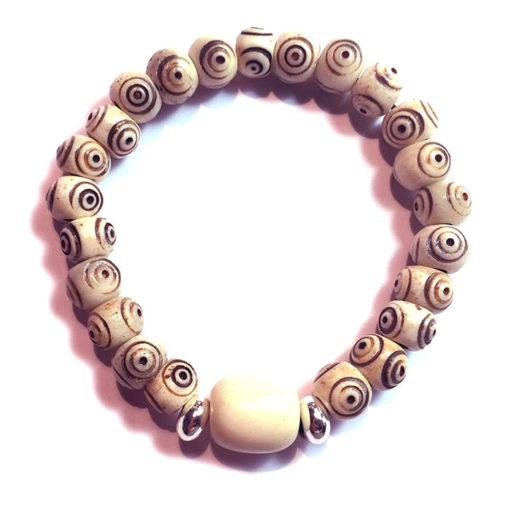 Bracelet crotale blanc oeil de bouddha