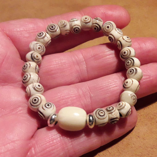Bracelet crotale blanc en os