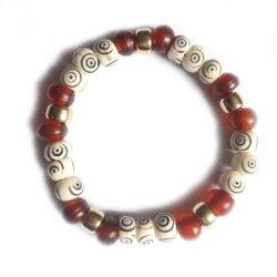 bracelet crotale en os, corne et laiton 336