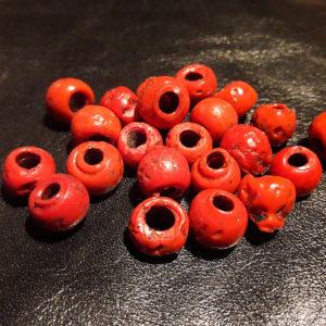bracelet corail, perles en pâte de verre