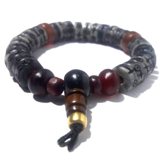 bracelet nak homme en os grave et corne