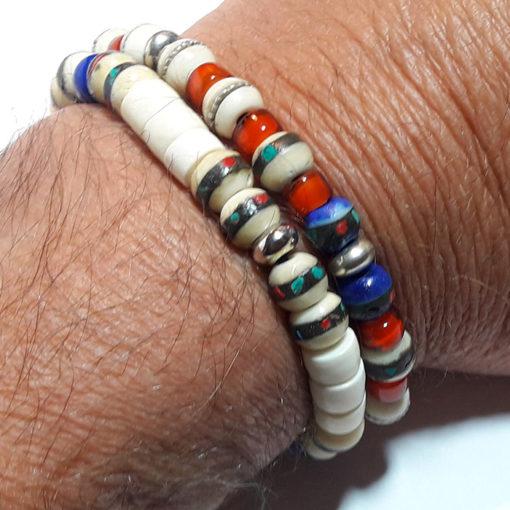 bracelet nepali blanc en os et verre